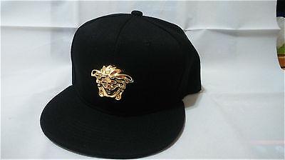 Patent faux leather handmade gold medallion Medusa snapback strapback cap hat
