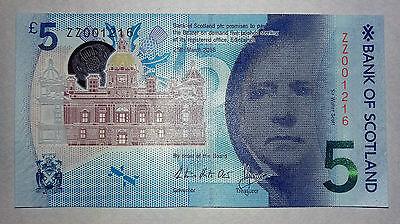 ** RARE ** Bank of Scotland polymer £5 note - Very rare low serial no: ZZ001216