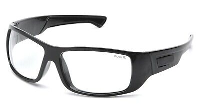 Pyramex Furix Clear Anti Fog Gloss Black Safety Glasses Motorcycle Shooting Z87