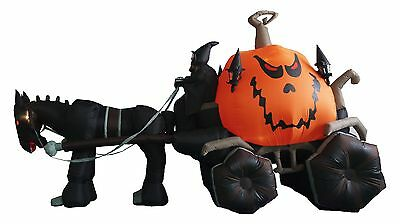 Halloween Inflatable Carriage (Halloween Inflatable Air Blown Blowup Decoration Grim Reaper Pumpkin)