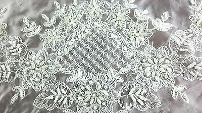 """Embroidery Handmade Beaded Pearl Embroidered 36x36"""" White Ta"""