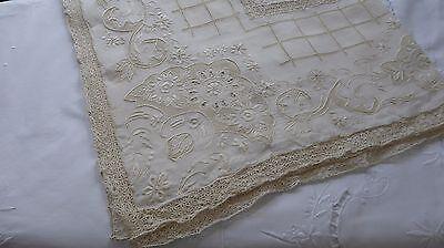 Antique Figural Italian Reticella Lace Tablecloth
