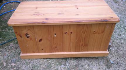 Medium sized wooden chest