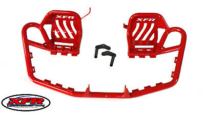 XFR Crimson PRO Foot Peg Nerf Bars Heel Guard Yamaha BLASTER PSE201-RED