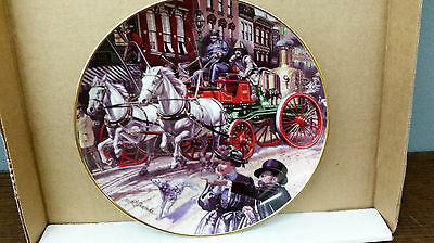 "Franklin Mint, The National Fire Museum collector plate ""Horse-drawn Sutherland"