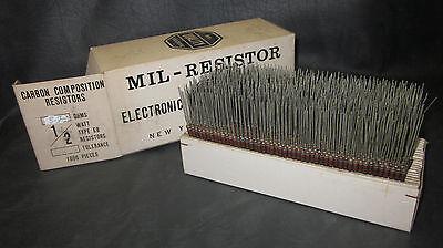 Mil Spec Box Of 12w Watt Carbon Comp 5 Resistors 8.2 Ohm 1000 Pieces