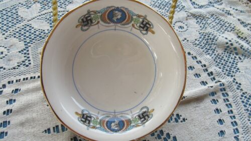 SEBRING POTTERY ANTIQUE LADY LUCK good fortune BERRY BOWL non German swastika