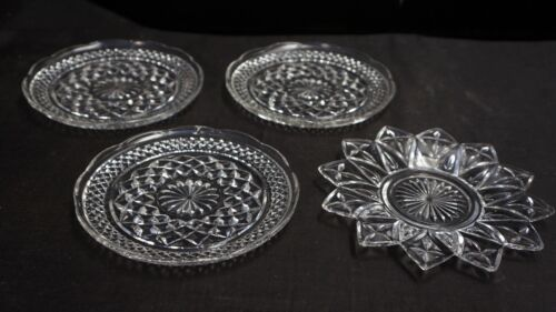 """4 Vintage Pressed Glass Plates 1 star 6.5""""  shaped 3 round 6"""""""