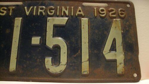 West Virginia License Plate 1926 ANTIQUE RARE