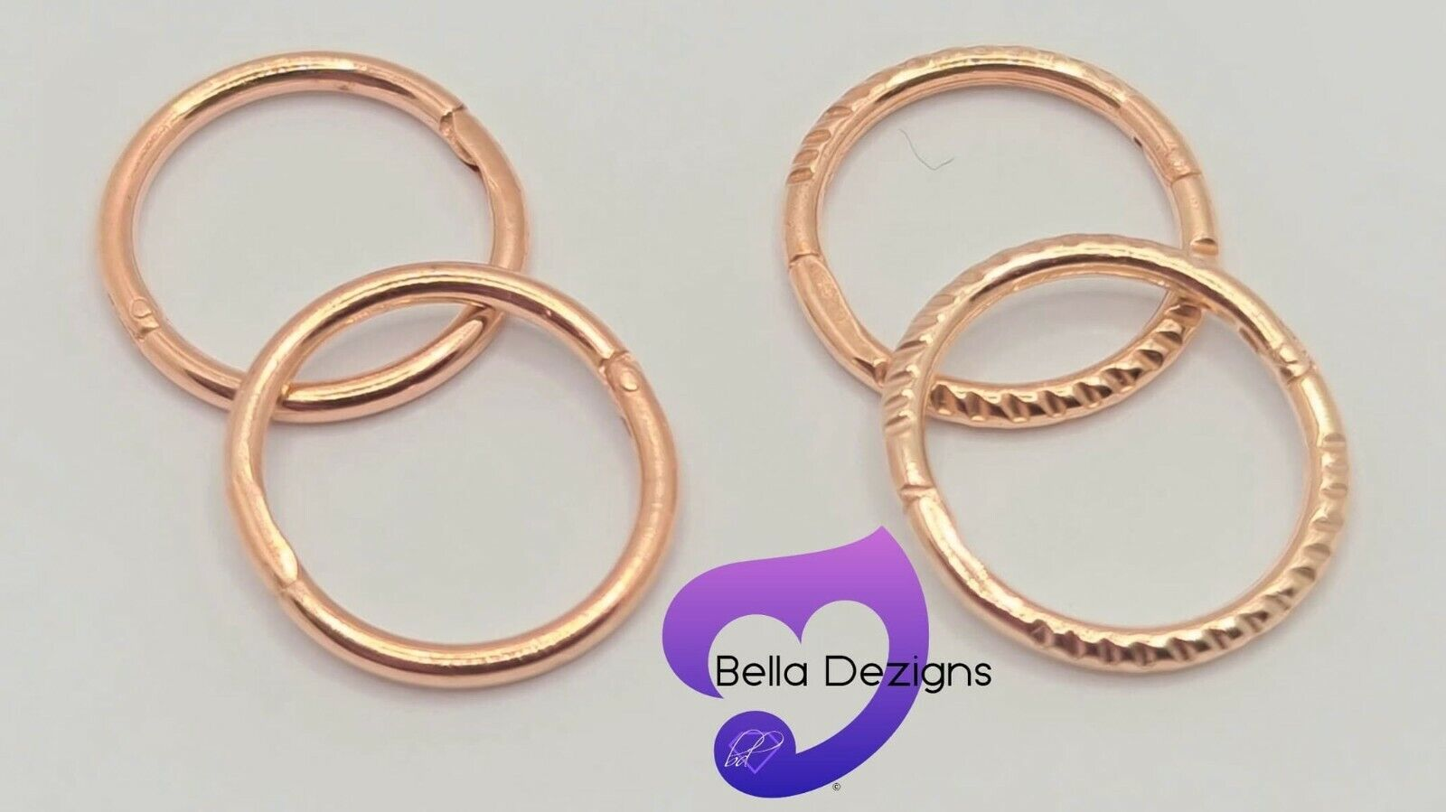 Jewellery - (8mm) 18ct ROSE GOLD PLATED on Solid Sterling Silver Sleeper Earring