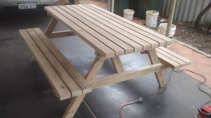 TREATED PINE OUTDOOR PICNIC TABLE - 9pc Timber Outdoor Setting Other Furniture Gumtree Australia
