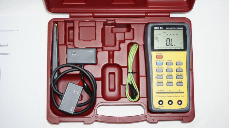DER EE LCR Meter DE-5000 with TL-21 TL-22 TL-23 + Storage Case