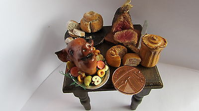 Dolls House 12th Scale Medieval Food & Table - Roast Beef Boars Head Pie Bread