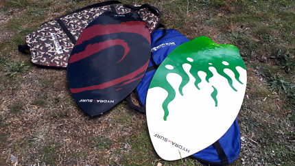 Two Hydra Surf wooden skimboards
