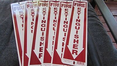 Lot Of 6 Vintage Old Stock 18 Fire Extinguisher Arrow Metal Sign Rounded Corner