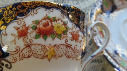 vtg ROYAL STANDARD TEACUP & SAUCER CUP BONE CHINA COBALT BLUE,GOLD, FLORAL