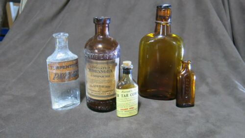 Lot of 5 Vintage Medicine Bottles Turpentine Lithiated Hydrangra and more