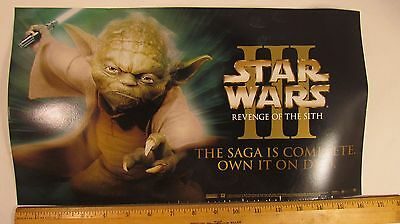 Star Wars 3 Revenge of the Sith Vinyl Promo Window Cling Poster Yoda