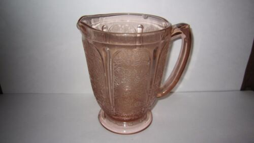 "JEANNETTE Pink Depression Cherry Blossom 36oz PITCHER 6 3/4"" All Over Pattern"