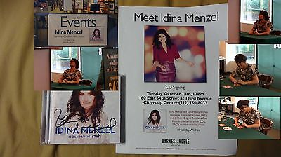 Idina Menzel Holiday Wishes Signed Broadway Tony Music Flyer Pic Cd Rent If Then