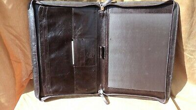 Osgoode Marley 306ch Espresso Leather Zippered Letter Sized Writing Pad