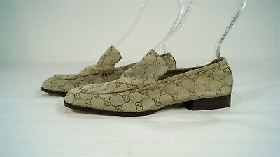 Vintage Gucci Suede Guccissima Taupe Women's Loafers Size 9 ½ B 101 1421