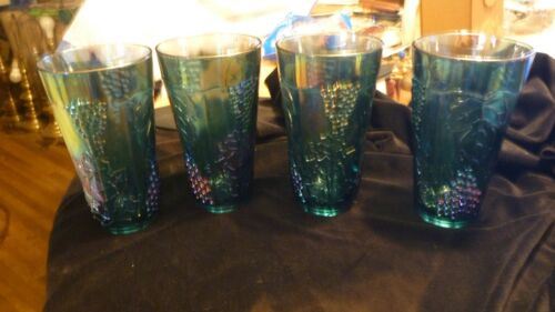 Set of 4 Blue Carnival Glass Harvest Grape Cup Drinking Glasses Indiana Glass