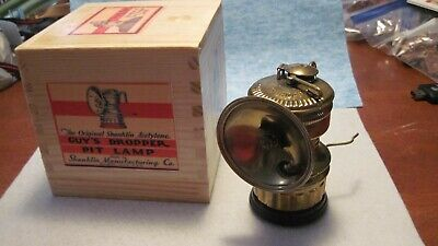 Carbide Lamp Refurbished Guy's Dropper in Wooden Box Unique