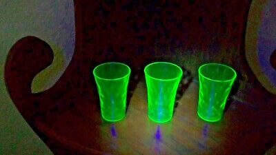 3 THREE Vintage Uranium Green Dimple Pinched Tumbler Glasses - 3 inches Tall
