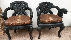 Heavily Carved Oriental/ Asian Armchairs, Reupholstered The Hill Newcastle Area Preview