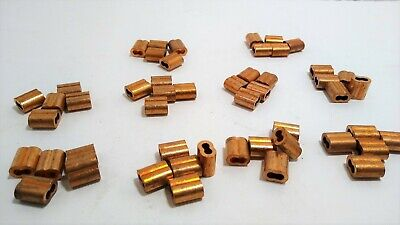 50 Sleeve Ferrules 18 Copper Cable Snare Wire Swage Line End Double Barrel Nos