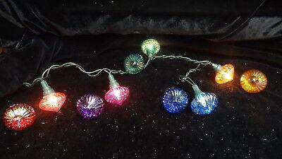 10 Iridescent Christmas Glass Light Covers ~ ridge design ~ 2 each of 5 colors