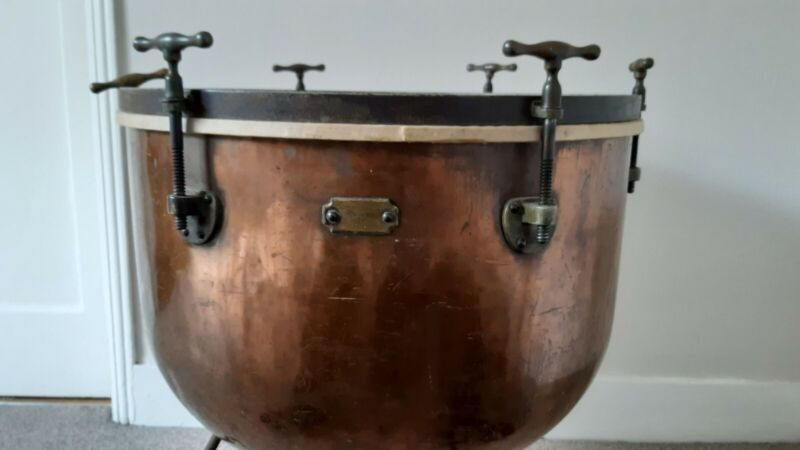 antique copper timpani/kettle drum or can be used as side table