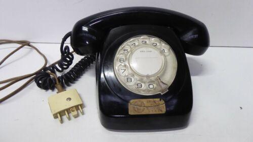 VINTAGE RETRO MID CENTURY TELEPHONE BLACK PLASTIC ROTARY DIAL TELECOM