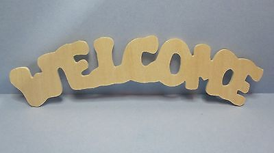 WELCOME WORD UNFINISHED WOOD SIGN ~ CUTOUT ~ SHAPE ~ LASER CUT