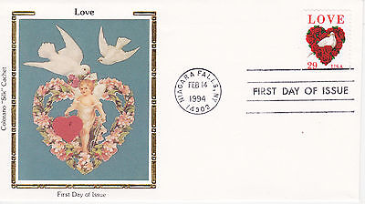 COLORANO SILK CACHET FIRST DAY COVER FDC - 1994 LOVE ISSUE NIAGRA FALLS, NY 1