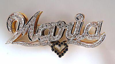 Maria Brooch Pin 2.00ct natural sapphire diamonds 14kt+