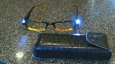 led glasses no lens 0.00 for reading seeing at night ect. with case black (Yellow Lenses At Night)