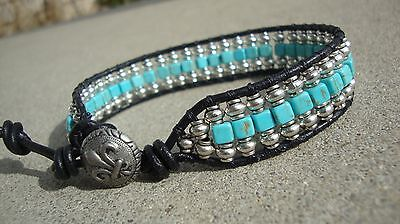Turquoise Silver Mens Bracelets - Men's Silver and Turquoise Beaded Wrap Black Leather Bracelet handmade USA New