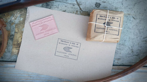 Rubber printing stamp, Allegheny Arsenal label .58 cal bundle, 1861