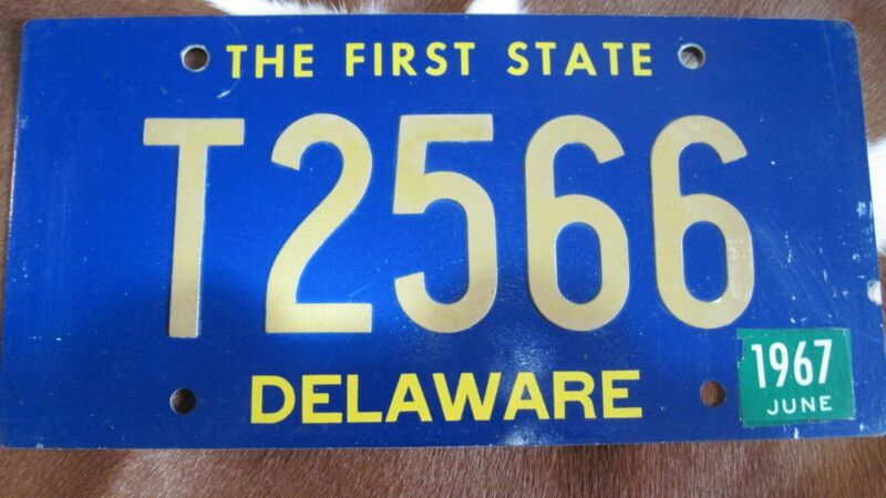 1967 Delaware Trailer license plate. Riveted numbers.