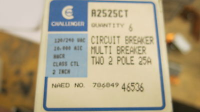 6 Challenger A2525ct Two 2 Pole 25 Amp Circuit Breakers New