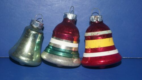 VINTAGE LOT OF 3 BELL GLASS CHRISTMAS TREE ORNAMENT ORNAMENTS