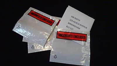 A7 (118mmx94mm) PRINTED DOCUMENT ENCLOSED S/A POSTAL POUCHES (BOX OF 900)