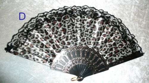 Black Lace Rim Color Leopard Sexy Asian Chinese Japanese Hand held Folding Fan