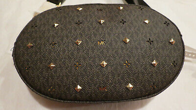 - Michael Kors Studded MK Belt Bag Fanny Pack Chocolate Brown O/S Authentic NWT