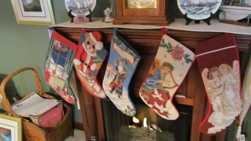 Hand Made Needlepoint  - Pettipoint -Stockings Set Of  Five