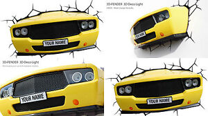 Genuine-3DLIGHTFX-YELLOW-MUSCLE-CAR-Light-3D-LED-Wall-Night-Light-Lamp