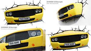 Genuine-3DLIGHTFX-YELLOW-MUSCLE-CAR-Light-3D-LED-Wall-Night-Light-Lamp