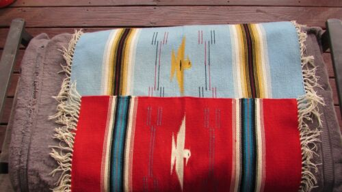 PAIR OF VINTAGE NATIVE AMERICAN HANDWOVEN WOOL THROWS WITH THUNDERBIRDS